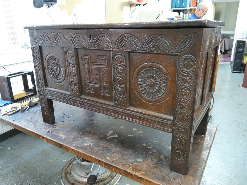 Early 18th century oak coffer cabinet making for Furniture restoration