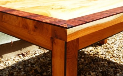 Three yew wood tables