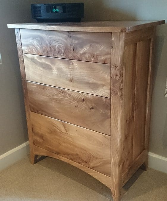 Figured Scottish Elm Bedroom Furniture